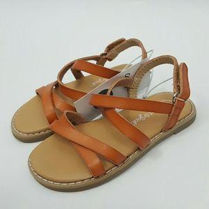 Cat & Jack Girls Cognac Strappy Ankle Strap Sandal